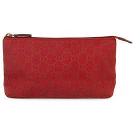 Gucci-Gucci Monogram Deep Red Canvas Clutch Bag Sac à main Zip top Travel Pochette-Rouge