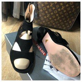 Prada-Prada suede sandals-Black