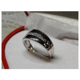 Autre Marque-Alliance Or Blanc 18K Jonc ligne de 9 diamants 0.40 cts env.-Argenté