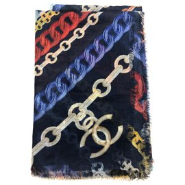 Chanel-CHANEL cashmere shawl-Multiple colors