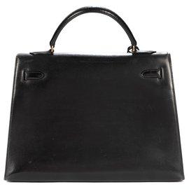 Hermès-Hermès Kelly saddler 32 cm black box leather, gold-plated trim-Black