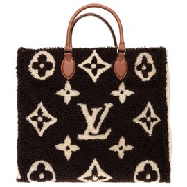 Louis Vuitton-Louis Vuitton Onthego GM Teddy Monogram limited series tote in shearling, new condition!-Brown