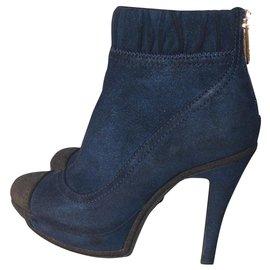 Chanel-Bottines-Bleu foncé