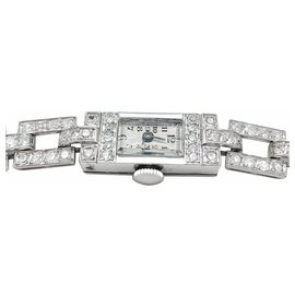 inconnue-Art Deco watch in platinum and diamonds.-Other