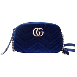 Gucci-GUCCI MARMONT VELVET BAG-Navy blue