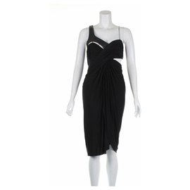 Alexander Wang-Cut out dress with leather trim-Black