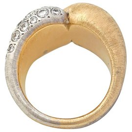 inconnue-Bague entrelacée en or jaune et diamants.-Autre