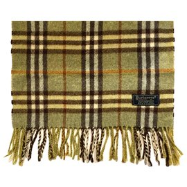 Burberry-BURBERRY vintage cashmere scarf-Olive green