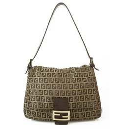 Fendi-Fendi Zucca FF Monogram Fabric Canvas & Brown Leather Shoulder Bag Flap Handbag-Cognac