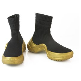 Louis Vuitton-Louis Vuitton LV ARCHLIGHT |Black Sock Sneaker Boot with Gold Rubber Soles 38-Black,Golden