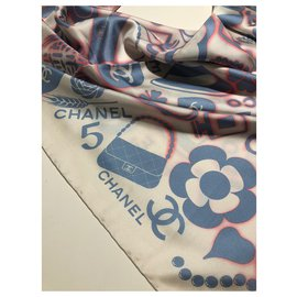 Chanel-Pure silk CHANEL scarf-Multiple colors