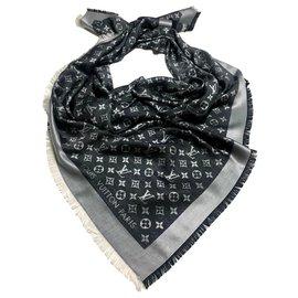 Louis Vuitton-Châle DENIM monogramme Louis Vuitton-Noir