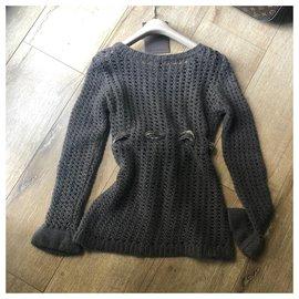 Louis Vuitton-filet de pêche 100% Pull en cachemire avec ruban de velours-Taupe