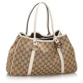Gucci-Sac cabas double en toile Gucci marron GG-Marron,Blanc,Marron clair