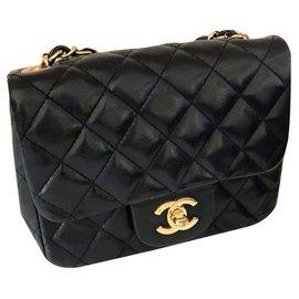 Chanel-Sac Chanel Classic Mini Square Noir-Noir