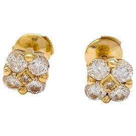 inconnue-Boucles d'oreilles en or jaune diamants blancs et bruns-Autre