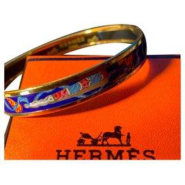 Hermès-Bracelet Hermès en Plaqué Or 18 carats et Émail tons Bleu/Blanc /Orange-Multicolore