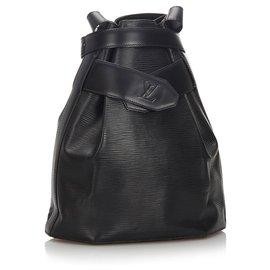 Louis Vuitton-Louis Vuitton Black Epi Sac dEpaule-Noir