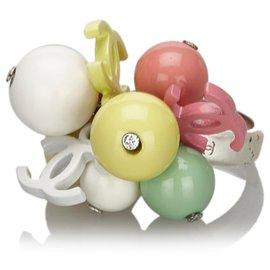Chanel-Bague Chanel CC Blanche-Blanc,Multicolore