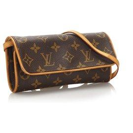 Louis Vuitton-Louis Vuitton Pochette monogram marron double PM-Marron