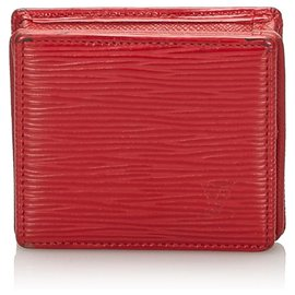 Louis Vuitton-Louis Vuitton Red Epi Porte Monnaie Boite Coin Case-Red