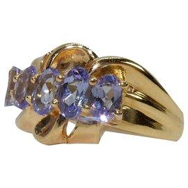 Autre Marque-Bague 5 tanzanites en or-Bleu,Bleu clair