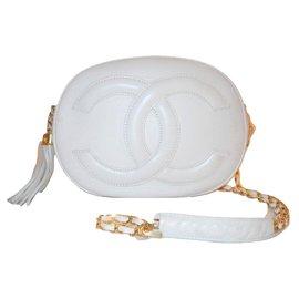 Chanel-CHANEL vintage sac oval-Blanc,Bordeaux