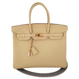Hermès-HERMES BIRKIN 35 Jaune Poussin-Jaune