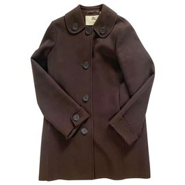 Burberry-Burberry wool and cashmere coat-Dark brown