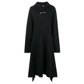 Vêtements-Kultiges Kleid mit Kapuze-Schwarz