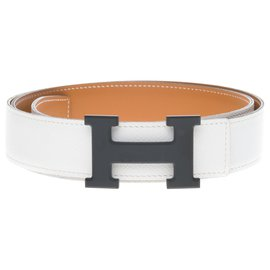 Hermès-Hermès Constance belt for men in white epsom leather and gold box, Loop 5382 in matt black PVD , In very good shape !-White,Golden