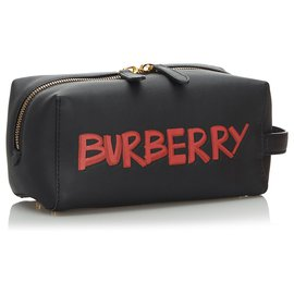 Burberry-Burberry Black Leather Graffiti Clutch Bag-Black