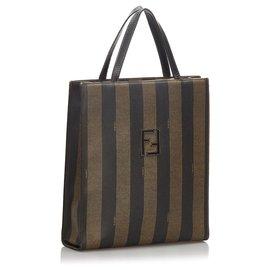 Fendi-Fendi Black Pequin Backpack-Brown,Black