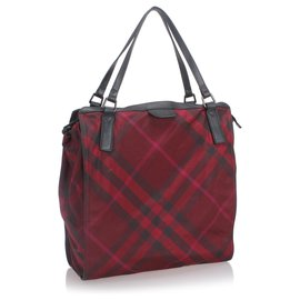 Burberry-Burberry Red Plaid Nylon Buckleigh Tote Bag-Black,Red