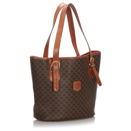 Céline-Celine Brown Macadam Tote Bag-Brown,Dark brown