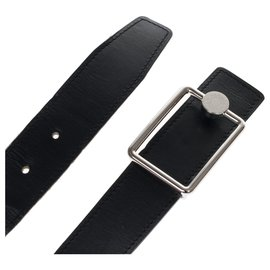 "Hermès-Reversible Hermès ""Clou de selle"" belt in black box leather and blue bull calf, taille 95 In very good shape !-Black,Blue"