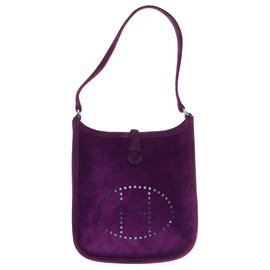 Hermès-Superbe Sac Hermès Evelyne TPM en daim violet, état neuf !-Violet