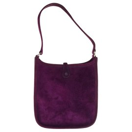 Hermès-Superb Hermès Evelyne TPM bag in purple suede, new condition!-Purple