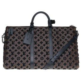 Louis Vuitton-Esgotado - Bolsa triângulo Louis Vuitton Keepall 50 alça de ombro de lona e adorno monograma, Nova Condição!-Marrom,Preto