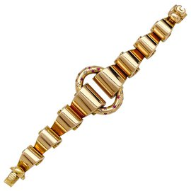 inconnue-Bracelet Tank en or rose, diamants et pierres rouges.-Autre