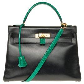 Hermès-Hermes Kelly 32 Rückgabe in individuellem Black-Box-Leder mit Schultergurt, Enchapes, Bandoulière, grünes Krokodil Vorhängeschloss und Reißverschluss und Glocke-Schwarz,Grün