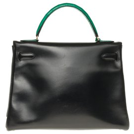 Hermès-hermes kelly 32 returned in custom black box leather with shoulder strap, Enchapes, Bandoulière, green crocodile padlock and zipper and bell-Black,Green