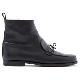 Hermès-KELLY BLACK FR38-Black,Silvery