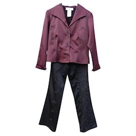 Yves Saint Laurent-tailleur pantalon-Noir,Prune