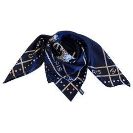 Chanel-FOULARD CHANEL-Bleu Marine