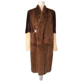 Céline-Céline coat in mink three colors-Brown