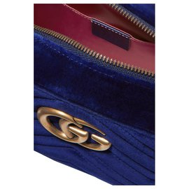Gucci-Gucci GG Marmont Umhängetasche Matelasse Velvet Small Cobalt Blue-Blau