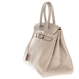 Hermès-HERMES BIRKIN 35 two-color in epsom taupe, blue interior, Palladie silver metal trim, Very good condition !-Blue,Taupe