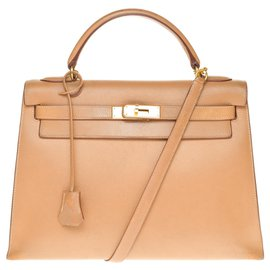 Hermès-Hermès Kelly saddler 32 cm shoulder strap in Courchevel Gold, gold plated metal trim-Golden