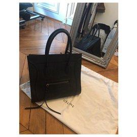 Céline-Luggage Phantom croc embossed leather-Black